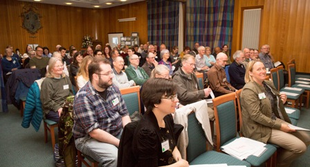 The audience assembled in the Brunton Hall, Musselburgh for the talks. Photograph: David Palmar.